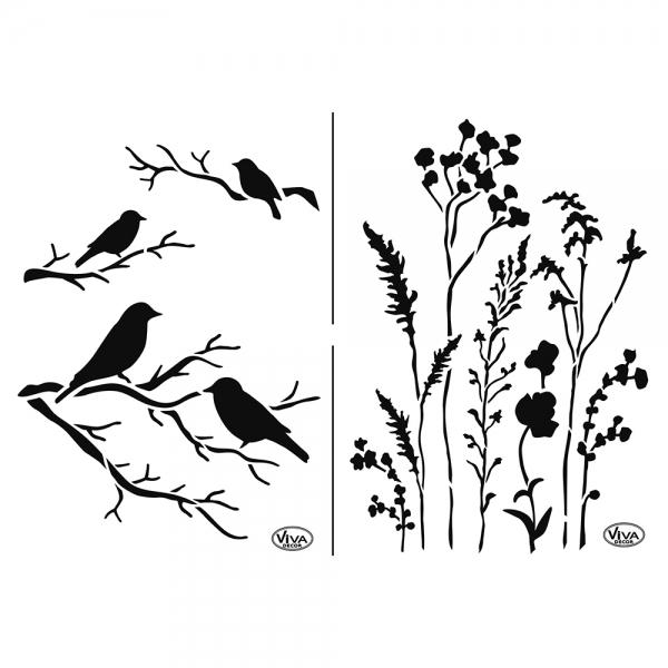 Universalschablone mit Gräsern und Vögel