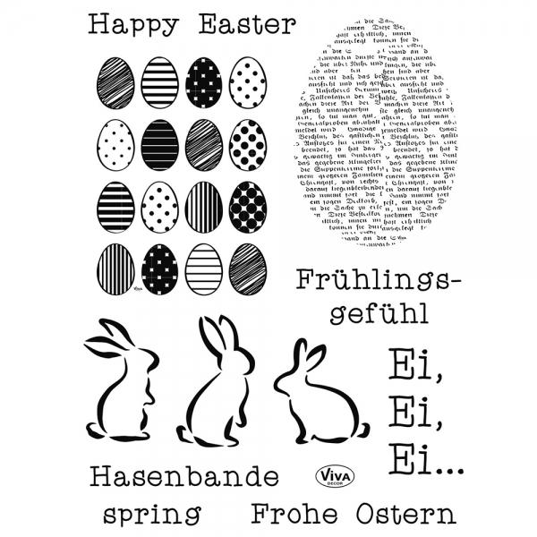 Clearstamps mit Ostermotiven - Eier, Hasen und Schriftzüge