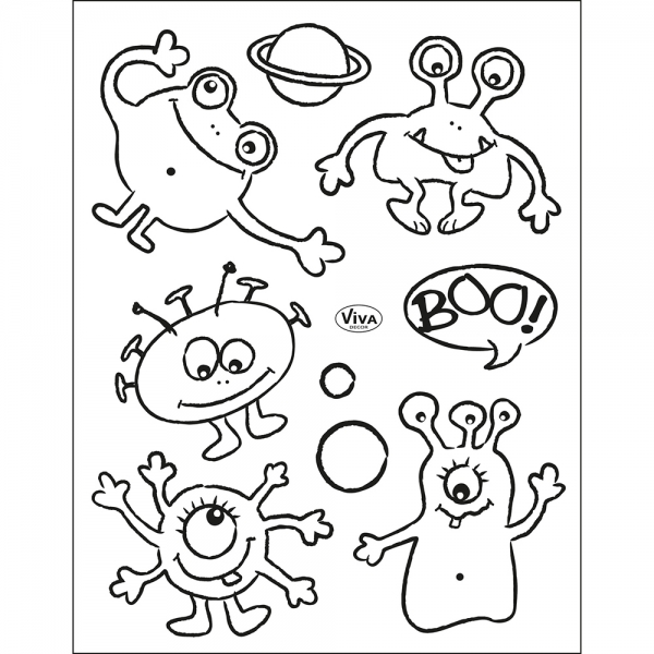Clearstamps Stempel-Set mit Alien oder Monster-Motiven