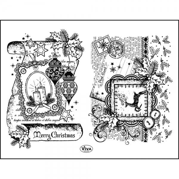 Clearstamps Silikonstempel-Set mit Weihnachts-Schriftrolle und Postkarte