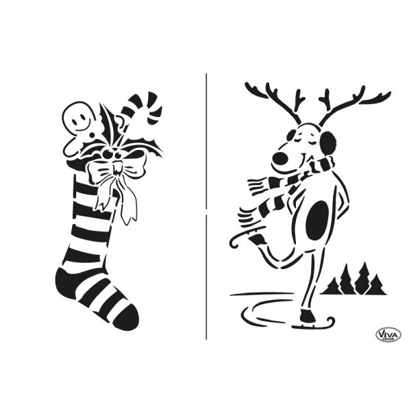 Universalschablone Weihnachtsstrumpf und Schlittschuh laufender Elch