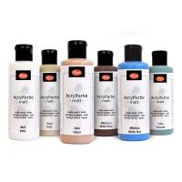 6-teiliges Acrylfarben Set Nature Art - Weiß, Beige, Natur, Mittelbraun, Mittelblau und Türkis