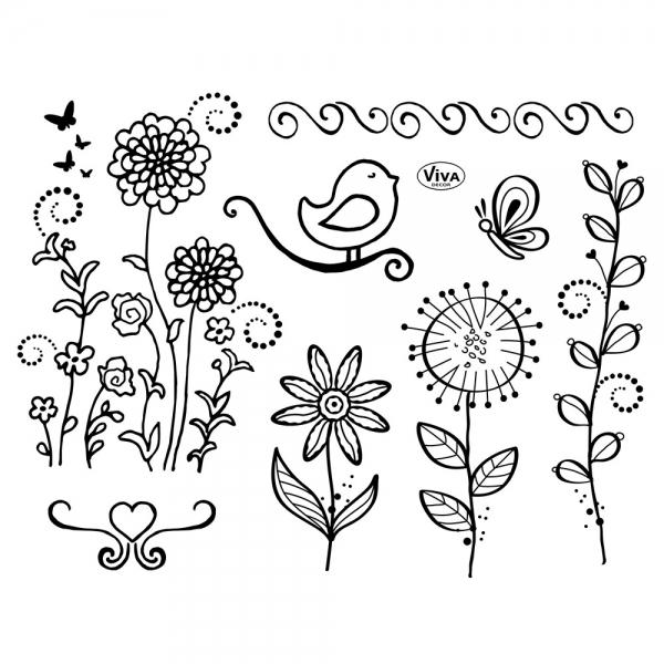 Clearstamp - Silikonstempelsammlung mit Blumen, Vogel und Schmetterlingen