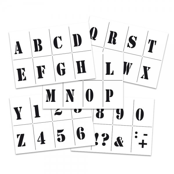 Universalschablonen-Set Buchstaben und Zahlen 5-teilig