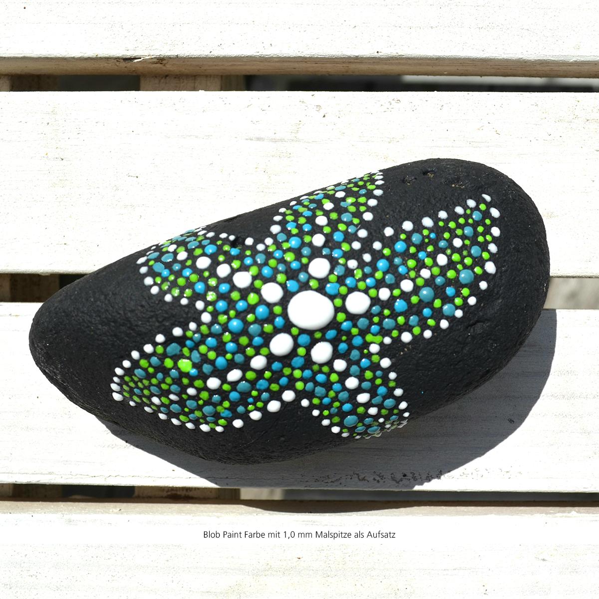 Mit Blob Paint Steine bemalen - mit einer 1,0 mm Malspitze als Aufsatz - Seestern