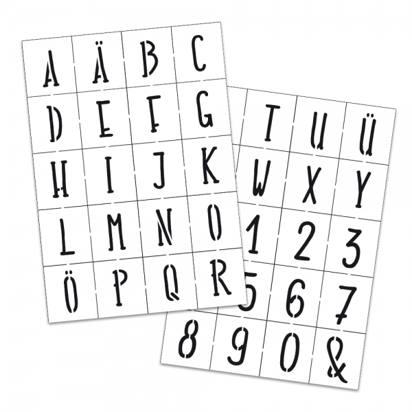 Universalschablonen 2er Set Alphabet und Zahlen