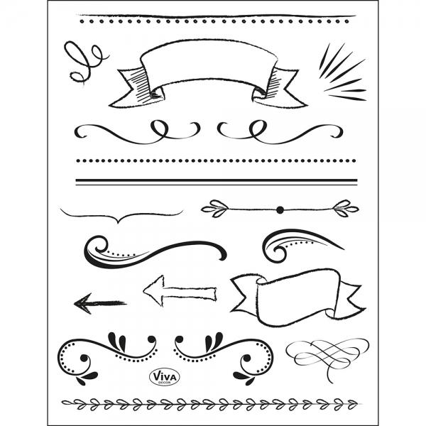 Clearstamps Rahmen, Linien, Trenner und Störer für das Lettering