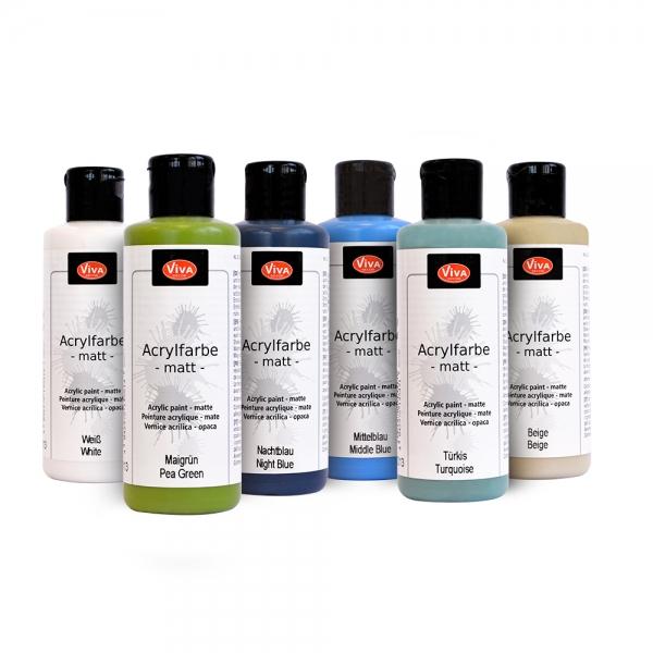 6-teiliges Acrylfarben-Set Ocean Dreams - Weiß, Maigrün, Nachtblau, Mittelblau, Türkis und Beige