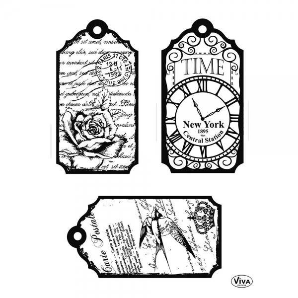 Clearstamps Anhängeschildchen mit Rose, Schwalbe und Uhr