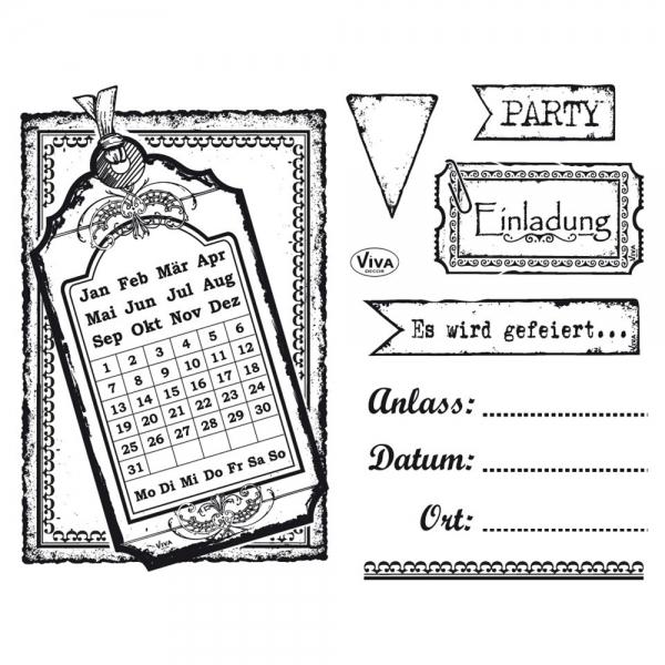 Clearstamps Alles für eine Einladungskarte im Silikonstempel-Set