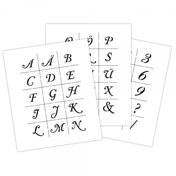 Universal-Schablonen-Set mit Buchstaben, Zahlen und Satzzeichen