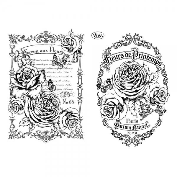 Clearstamps Silikonstempel mit floralem Motiv, Rosen und Schmetterlinge