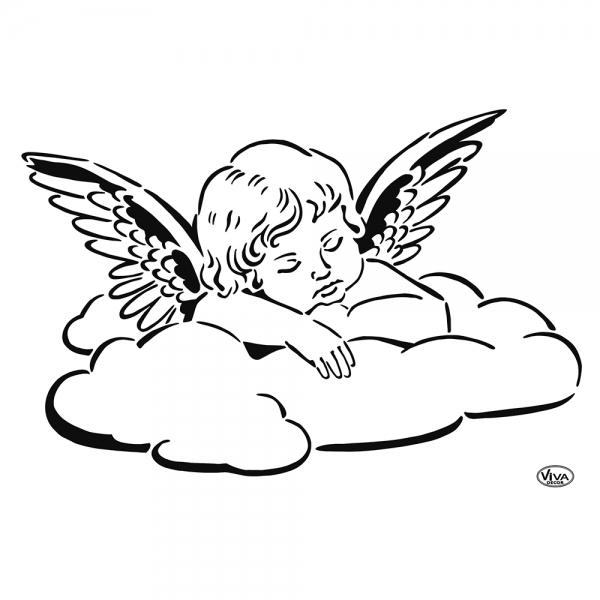 Universalschablone Engel auf Wolke