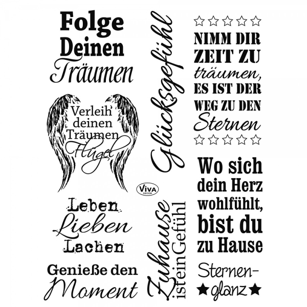 Clearstamps Sprüche und Wörter in einer Stempelsammlung