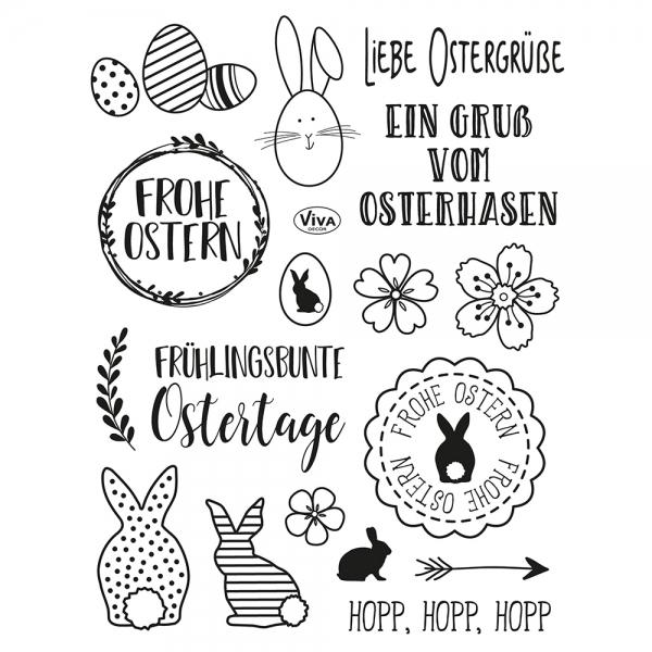 Clearstamps Stempelsammlung mit Hasen, Blumen und Eiern für Ostern