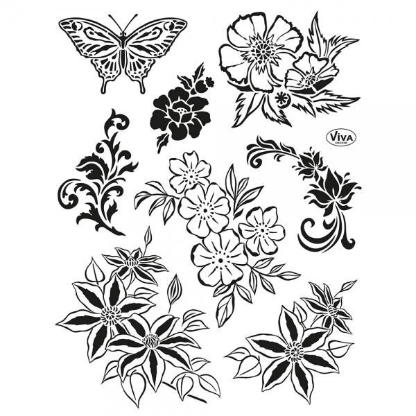 Clearstamps Blumenarrangement und Schmetterling als Stempelsammlung aus transparentem Silikon