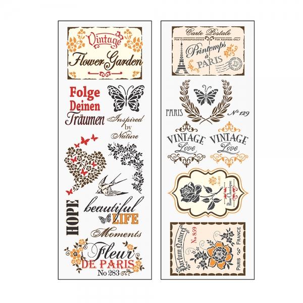 Wassertransfers - Tattoos für Dekorationsgegenstände mit Vintage-Motiven