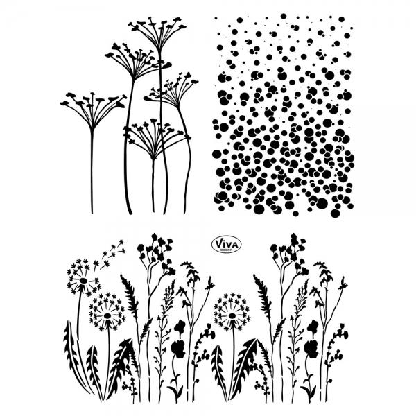 Clearstamps mit Pflanzen und Wiese als Hintergrundmotiv verwendbar