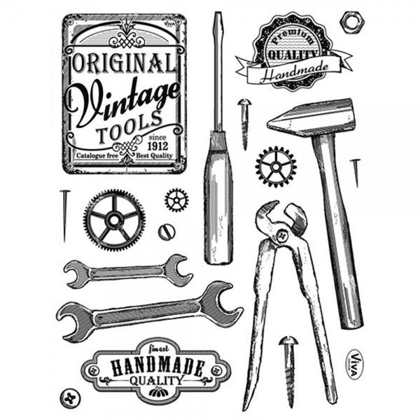 Clearstamps Silikonstempel Werkzeug im Vintage-Look