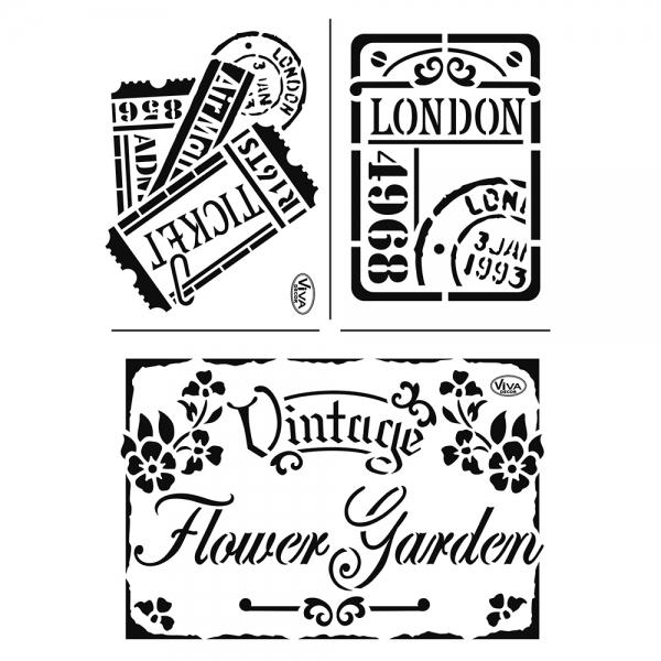Universalschablone A4 Vintage Flower Garden