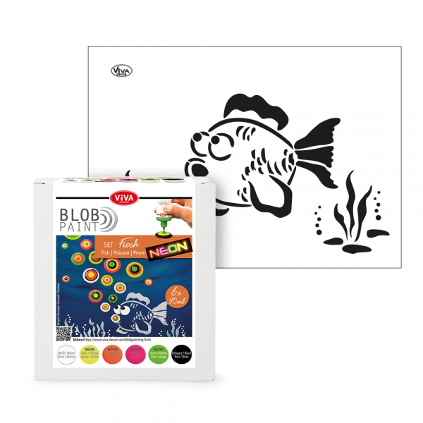 Blob Paint Set – 6 Farben und Fisch Schablone