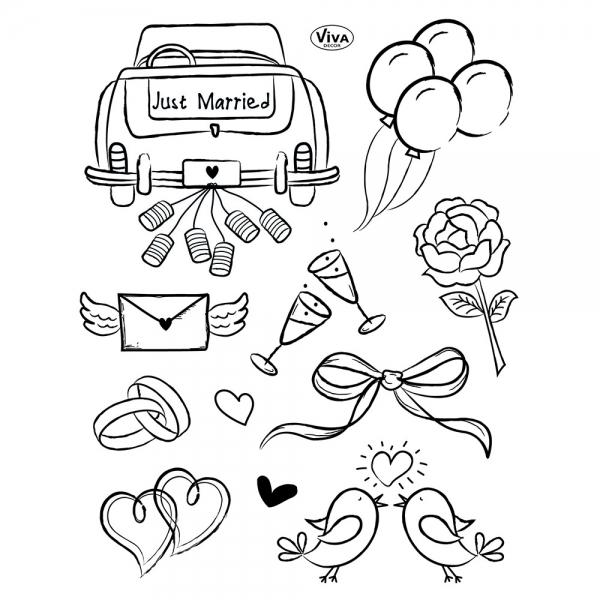 ClearStamps Silikonstempelsammlung mit Hochzeitsmotiven