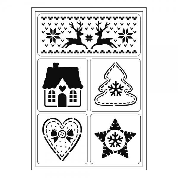 Flexschablonen-Set mit skandinavischen Weihnachtsmotiven