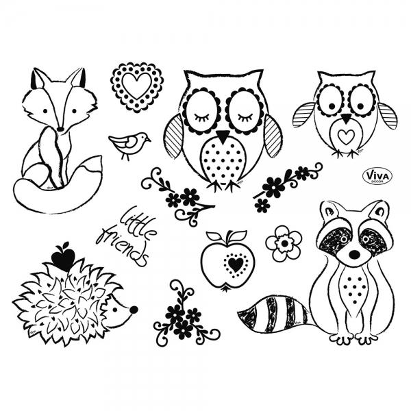 Clearstamps Stempelsammlung mit Eule, Waschbär, Fuchs, Igel, Apfel