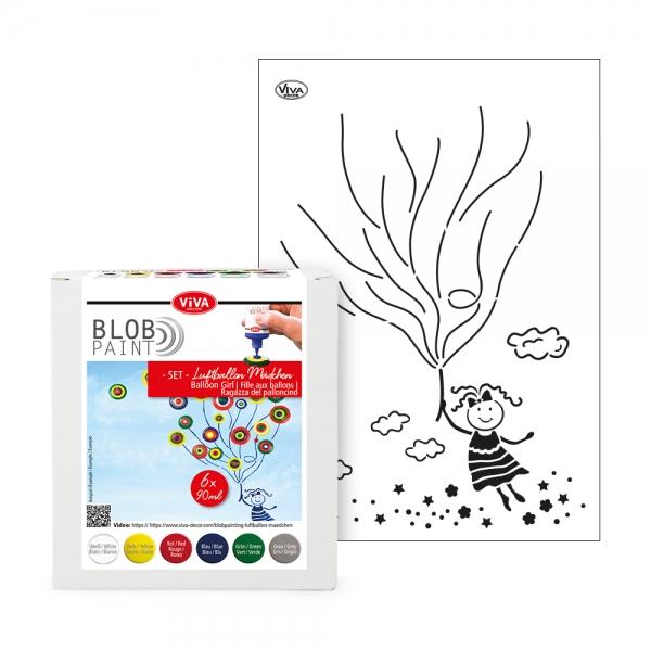 Blob Paint Set – 6 Fraben und Schablone Luftballon Mädchen