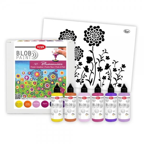 Blob Paint Set Blumenwiese mit Schablone