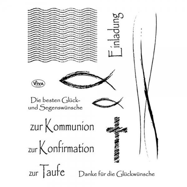 Clearstamps Motive christlicher Feste in einer Stempelsammlung