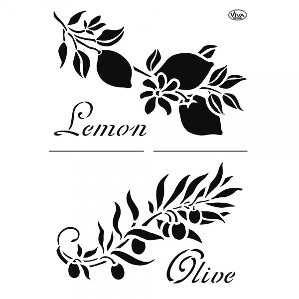 Universalschablone Zitrone und Olive