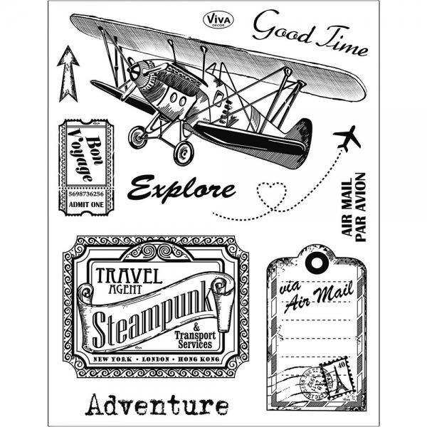 Clearstamps Abenteuermotive im Vintage-Look in einer Silikonstempel-Sammlung
