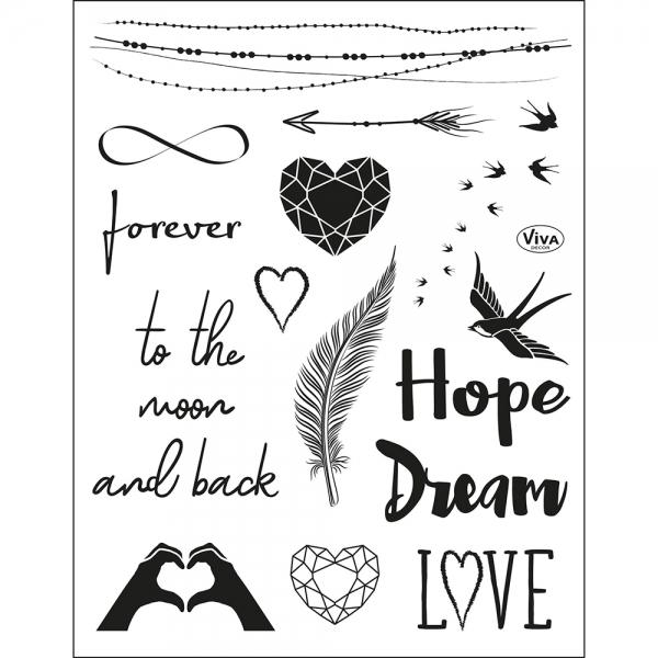 Clearstamps Stempel-Set mit zeitlosen Motiven zum Thema Liebe und Ewigkeit