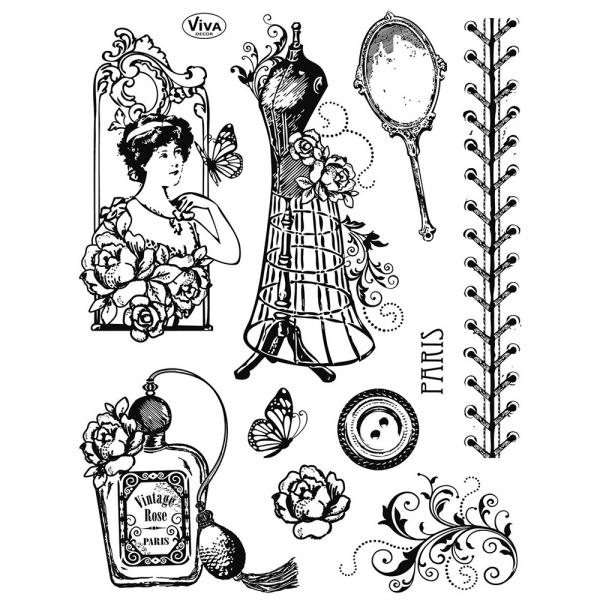 Clear Stamps Vintage Paris Couture Motive in einer Silikonstempelsammlung