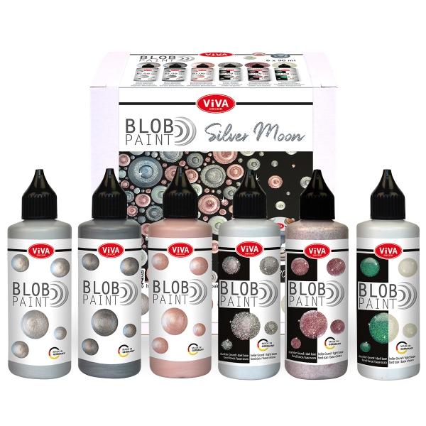 Blob Paint Set Silver Moon - 3 Metallic- und 3 Glitter-Farben im Set