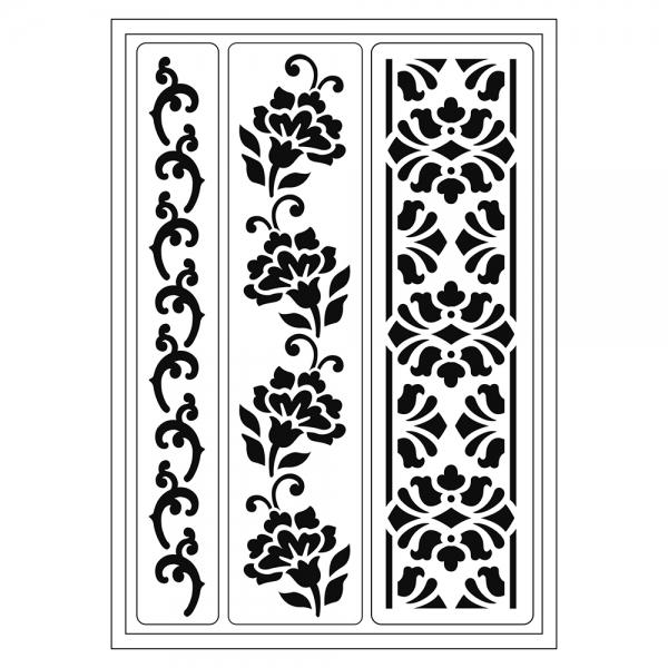 Flexschablone mit floralen Bordüren