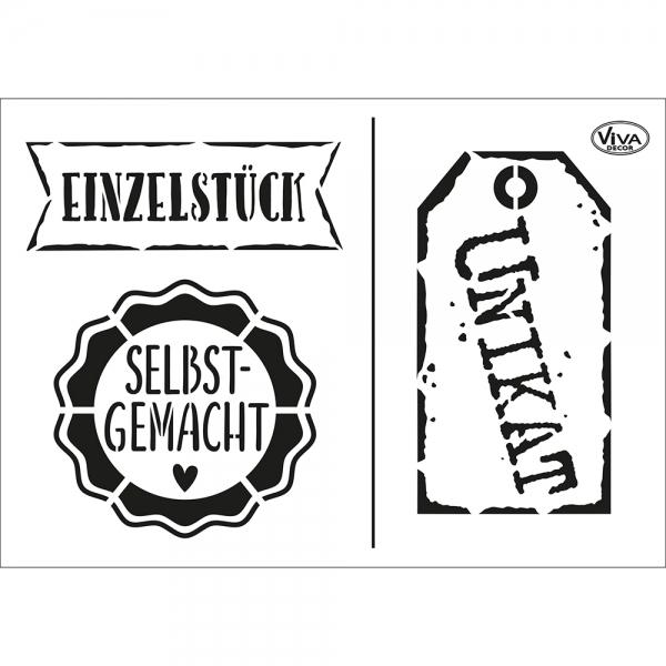 Universalschablone mit Schild, Etikett und Störer zur Auszeichnung als Einzelstücke