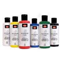 6-teiliges Acrylfarben-Set Basic Colors - Weiß, Gelb, Rot, Blau, Grün und Schwarz