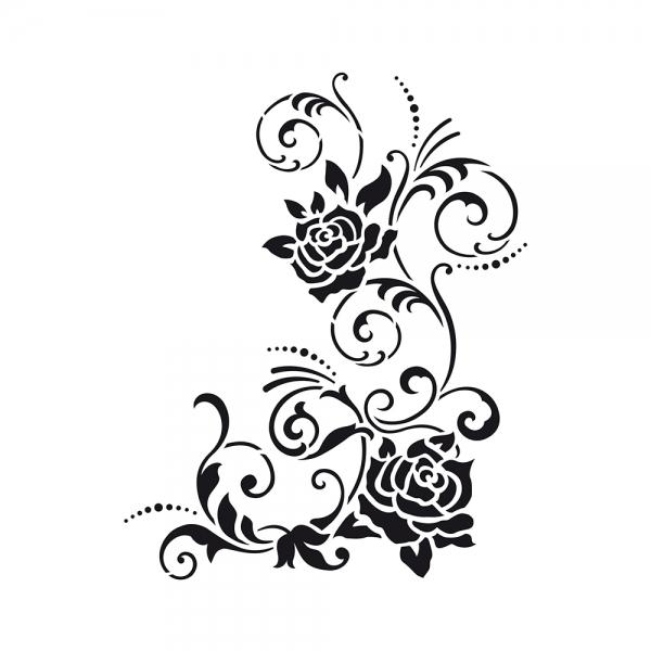 Universalschablone Rosenblüten und filigrane Ranken
