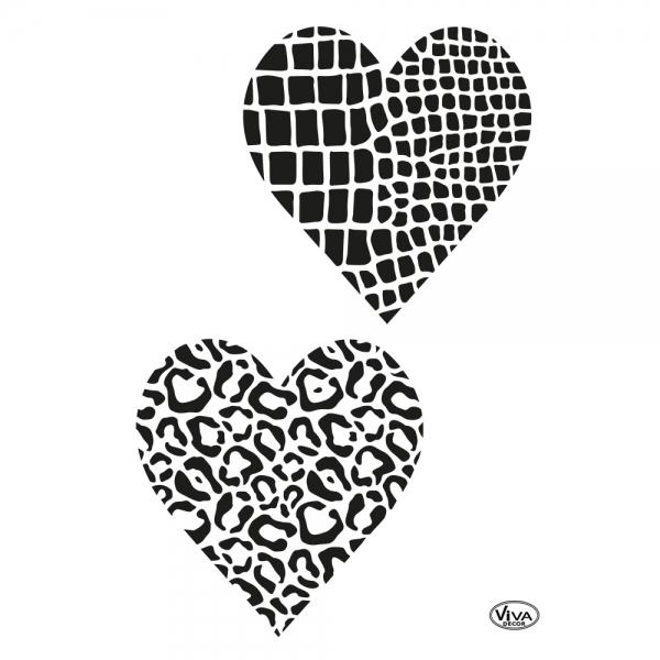 Universalschablone Herzen mit Animalprint