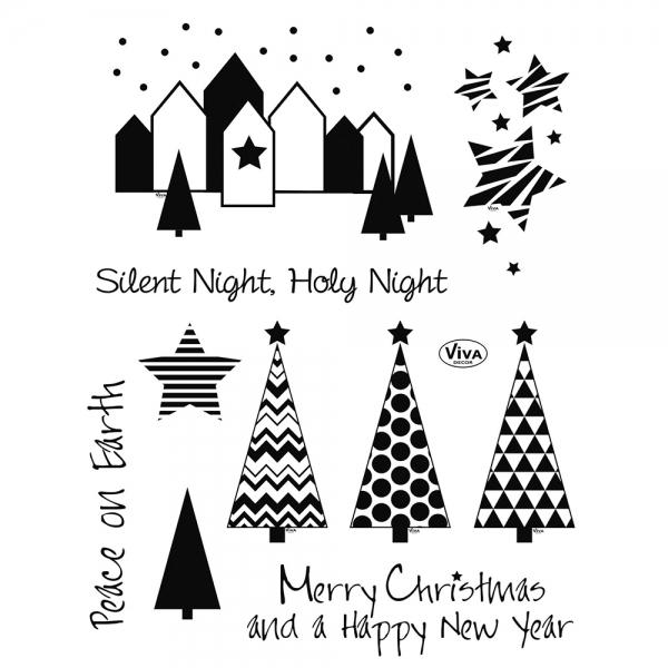 Clearstamps Weihnachtsbäume und Weihnachtsstadt als Stempelsammlung