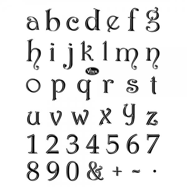 Clearstamps Stempelset mit Alphabet Kleinbuchstaben und Zahlen