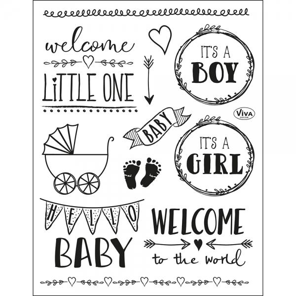 Clearstamps Silikonstempel mit Motiven zum Thema Baby