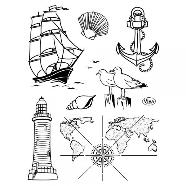 Clearstamp mit maritimen Motiven Segelschiff, Anker, Möwen, Leuchtturm und Karten