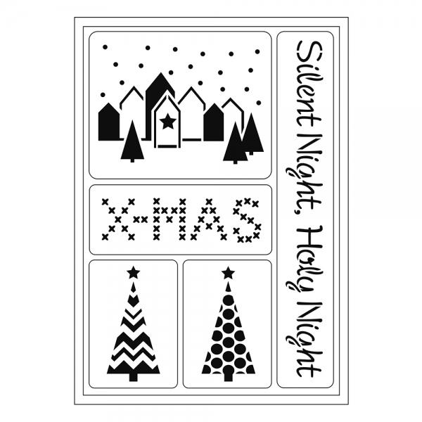 Flexschablonen mit weihnachtlichen Elementen der stillen Nacht