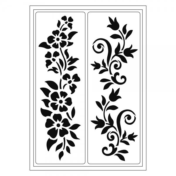 Flexschablonen mit zwei abstrakten Blumenranken