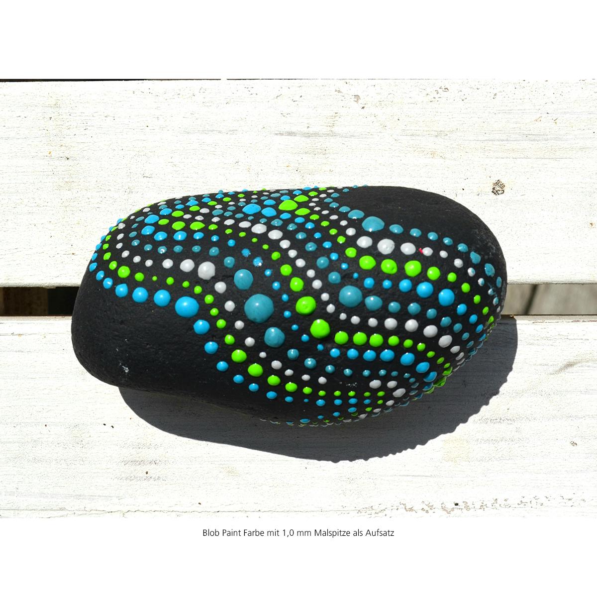 Mit Blob Paint Steine bemalen - mit einer 1,0 mm Malspitze als Aufsatz - Wellen