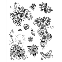Stempel Set aus klassischen WEihnachtsmotiven wie Glocken, Kugeln und Weihnachtsstern