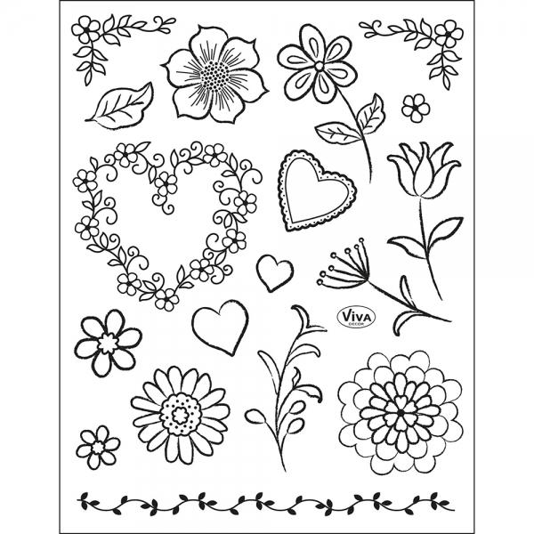 Clearstamps - Blumen und blumige Elemente als Motive im Stempel-Set
